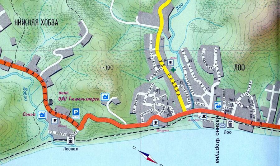 Дивноморское Карта Улицами